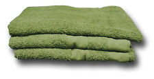 3 x GREEN ARMY ISSUE COTTON TOWELS, OLIVE DRAB, 66 x 119 CM [01489]