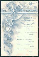 Militari 49º Reggimento Fanteria Programma Musicale cartolina XF4987