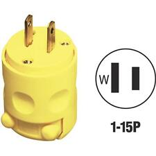 100 Pk Leviton Yellow 15A 2-Wire 2-Pole NEMA 1-15P Electric Cord Plug 000-115PV