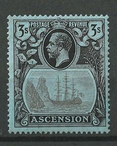 ASCENSION KGV 1924 3/- Black on Blue SG20, MLH