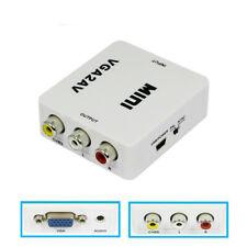 1080P Mini VGA to AV RCA Converter with 3.5mm Audio VGA2AV/CVBS Adapter for PC