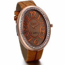 Unique Oval Shiny Rhinestone Dial Women's Leather Strap Band Analog Wrist Watch