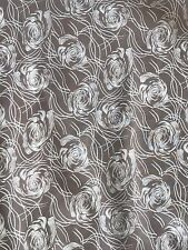 Beige And White Rose Printed Fabric, Clothing, Dressmaking, Homeware