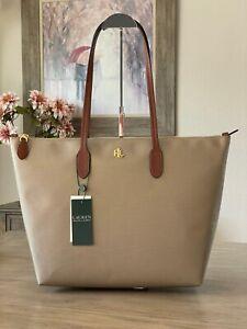 Lauren Ralph Lauren Keaton Extra Large Nylon Tote Clay Handbag