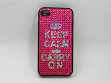 iPhone 4 Keep Calm and Carry On Diamante Case - Pink