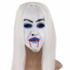 👻HALLOWEEN VAMPIRE FULL FACE MASK LONG WHITE HAIR 👻Fancy Dress Spooky Blood👻