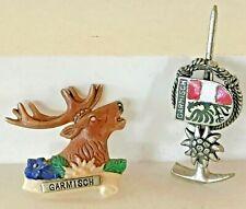 Vintage Lot of 2 Garmisch Souvenir Hat/Lapel Pins: Miner Pic Axe & Shield, Moose