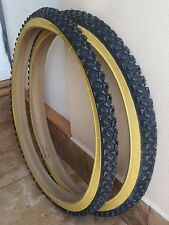 2- 26x2.0 Mountain Bike Duro Bicycle Knobby Tires  Black and Gum