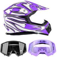 New Youth Motocross Purple Helmet DOT w/ Goggles Purple or Black Kids Combo ATV