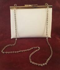 Small Vintage Retro White Clutch Purse With Chain Strap
