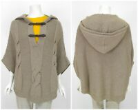 Womens Massimo Dutti Wool Angora Cashmere Poncho Cape Jacket Knit Hooded Size M