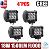 4X 4'' Inch 18W Cube Pod Flood LED Driving Fog Lights Off Road 4WD Jeep Wrangler
