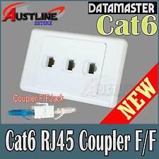 3Port Cat6 RJ45 DATAMASTER Wall Plate Cat 6 F/F Jacks