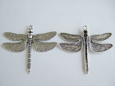 10pcs Antique Silver Dragonfly Charms Pendants Jewelery Findings 72mm