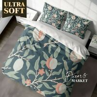Flower Fruit Floral Patterns Green Quilt Cover Set Single Double Queen King Size
