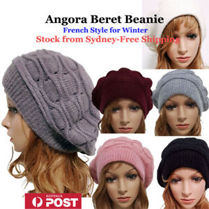 Angora &Cotton Winter French Style Beret Hat Beanie -Stock from Sydney Fast Ship