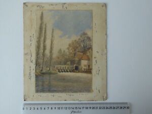 APRIL1888 IFFLEY MILL OXFORDSHIRE WATERCOLOUR SKETCH UNSIGNED PAPER ON CARD