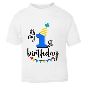 It's My 1st First Birthday Children's Kids T-Shirt T Shirt Boys Cake Smash NEW