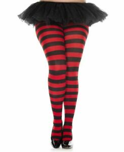 Plus Size Wide Striped Tights - Music Legs 7419Q