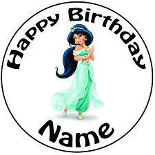 "Personalised Birthday Aladdin - Jasmine Round 8"" Easy Precut Icing Cake Topper"