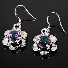 925 Silver Plated Mystic Rainbow Topaz Flower Drop Dangle Earrings Ladies Gift