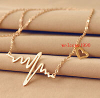 Female Heart Beat ECG Necklace Pendant stainless steel JewelryFashion Rose Gold