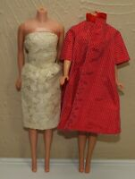 Vintage Barbie Clone Outfit Lace STRAPLESS DRESS & Red Taffeta SWING COAT