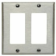 Mulberry 97402 2-Decora/Gfci Standard Size Wall Plate, 2 Gang Brushed Stainless