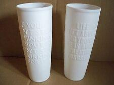 Vasen-Set 2 tlg. Keramik weiß Matt  mit Sprüchen IMPRESSIONEN LIVING