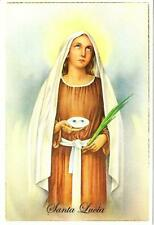 Saint Lucy Santa Lucia with Her Eyes Portuguese Christian Postcard