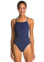 Speedo Women's Navy Solid Endurance + Thin Strap One-Piece Swimsuit 6811 Size 40