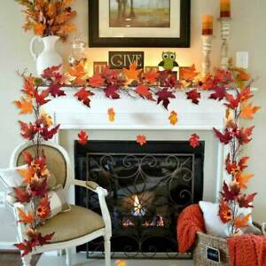 170cm Artificial Autumn Fall Maple Leaves Garland Hanging Plant Home Party Decor