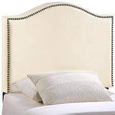 Modway Curl Linen Fabric Upholstered Twin Headboard with Nailhead Trim, Ivory