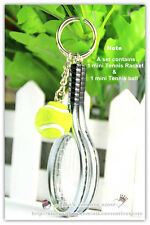 Funny 3D Sport Mini Silver Tennis Racket & Ball Model Key Ring Keychain, Gift