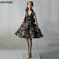 Black Flower Countryside Floral Dress For Barbie Doll Clothes Evening Dress 1/6