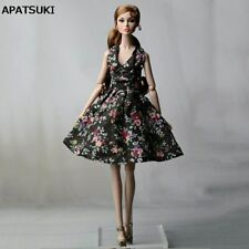 "Black Flower Countryside Floral Dress For 11.5"" Doll Clothes Evening Dresses 1/6"