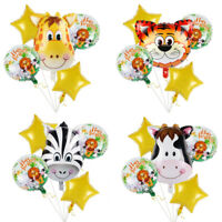 6Pc Jungle Animal Foil Balloons Set Kids Birthday Baby Shower Decor Party Supply
