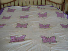 Vintage PURPLE BUTTERFLY Quilt top Large 94X107 in. Hand pieced, applique CUTE