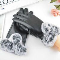 Women Black Leather Gloves Autumn Winter Warm Fur Mittens Driving Gloves US