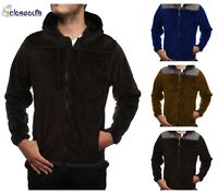 Mens Winter Warm Casual Lightweight Hooded Fur Lined Zipper Fleece Jacket Hoodie