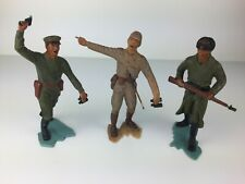 """VTG PlastiMarx WWII 6"""" LOT of 3 Japanese Toy Soldiers Painted Plastic Mexico"""
