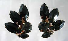 SAPPHIRE BLUE AND BLACK RHINESTONES AND GOLD TONE EARRINGS CLIP ONS VINTAGE
