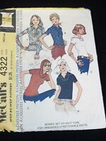 McCalls Sewing Pattern 4322 Size 12 Vtg 70s 1970 Misses Set Of Knit Tops