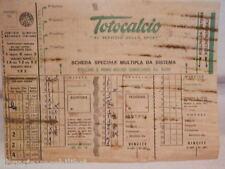 Vecchia schedina TOTOCALCIO Concorso Scheda speciale multipla da sistema colonne
