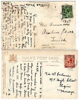 # 1917/33  2 x WALLS SHETLAND POSTMARKS ON PPCs TO LERWICK & ELGIN  2 DIFF RATES
