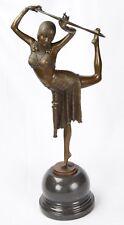 Bronzeskulptur einer Reifentänzerin Bronze Art Deco Skulptur