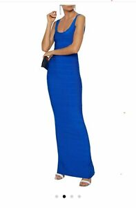 BNWT HERVE LEGER BLUE BANDAGE GOWN MAXI DRESS SIZE LARGE UK 14  RRP $1590