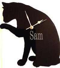 Personalizzata Gatto Orologio silhouete, montato a parete