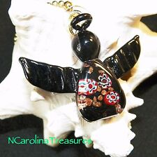 CHRISTMAS ANGEL BLACK HOLIDAY MURANO GLASS CEILING FAN LIGHT SWITCH PULLS PAIR