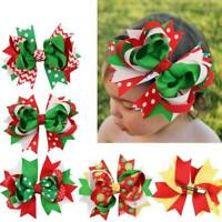 Christmas Ribbon Clips Barrette Hair Bow Bowknot Headwear Girls Hair Accessories